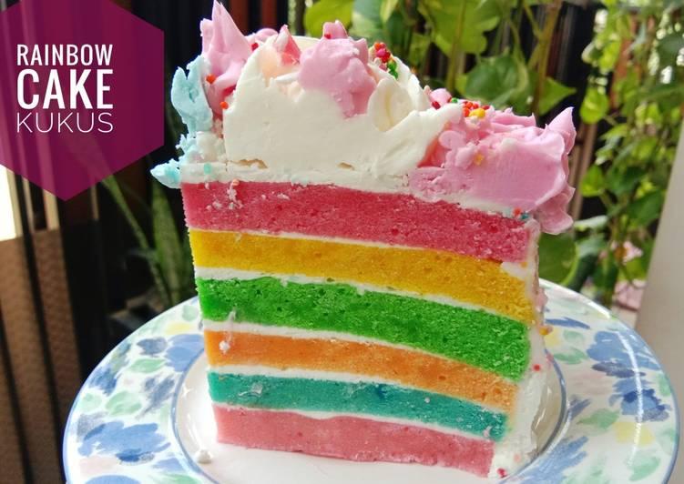 Rainbow cake kukus,kue ulang tahun simple - cookandrecipe.com