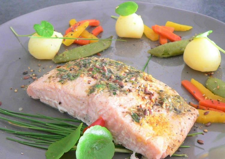 Recettes Papillote de saumon et ses petits légumes cuits à la vapeur