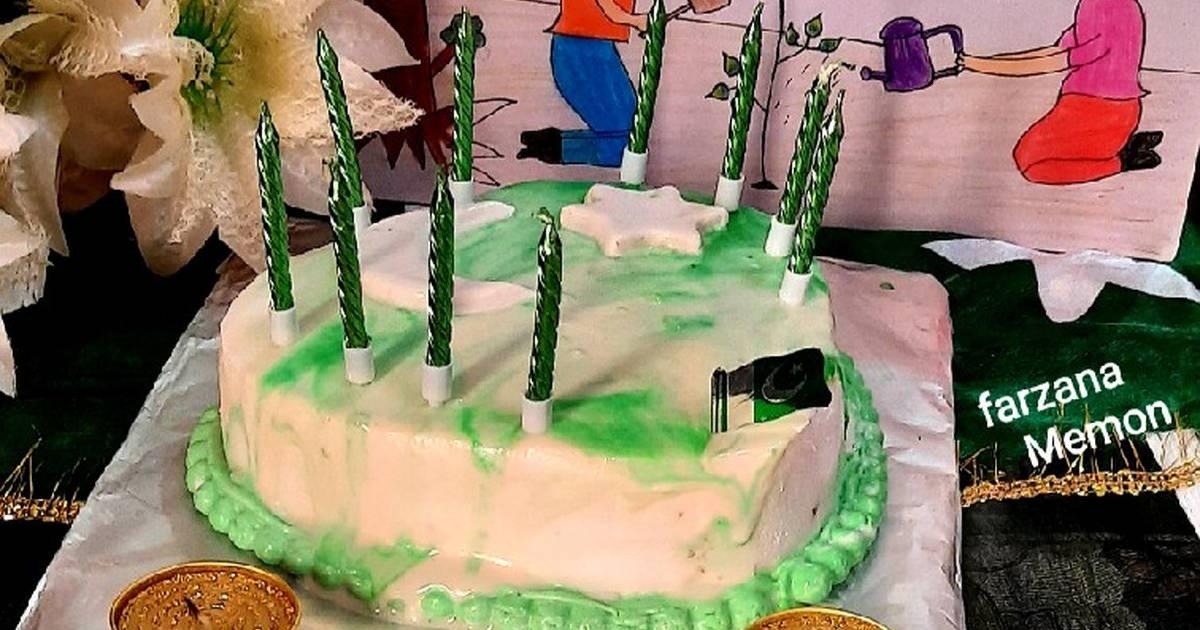 Heart Shape Marble Cake Green White Recipe By Farzana Memon Cookpad