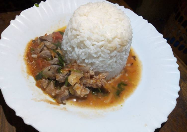Rice and goat meat stew