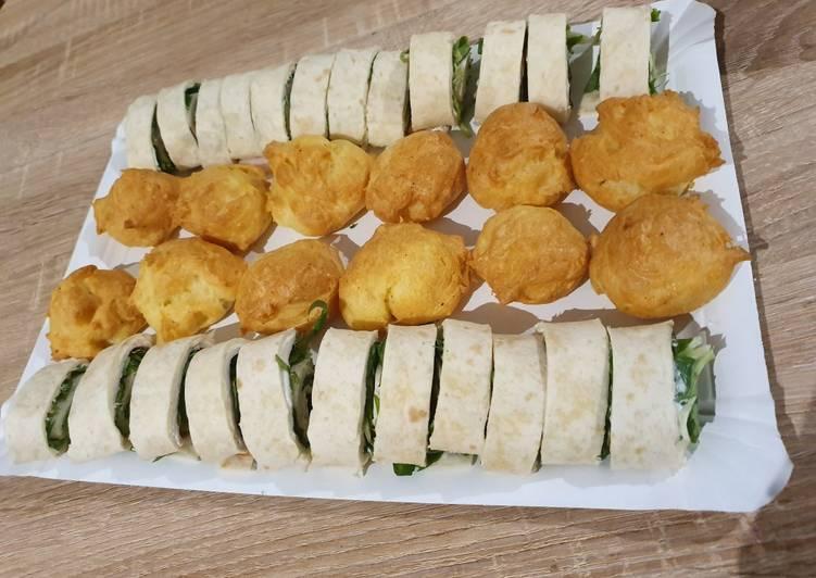 Wrap jambon/salade/kiri et Gougères au comté