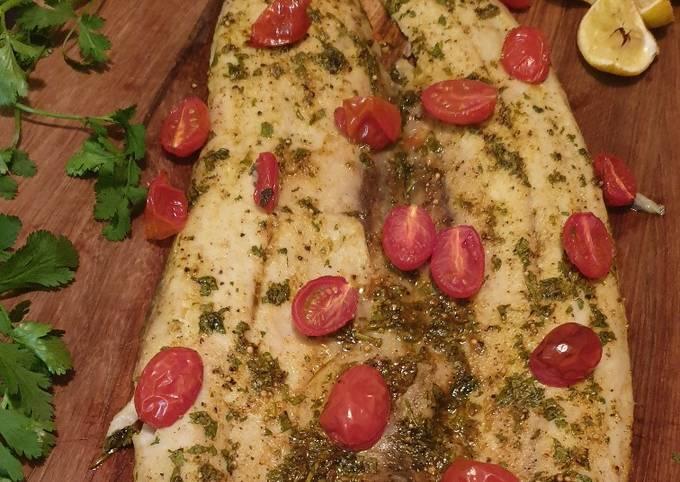 Masala snoek with roasted tomatoes