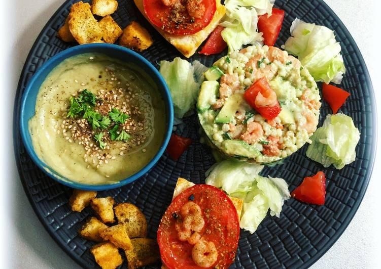Simple Way to Make Perfect 💚Tartare de crevettes avec sa soupe express💚