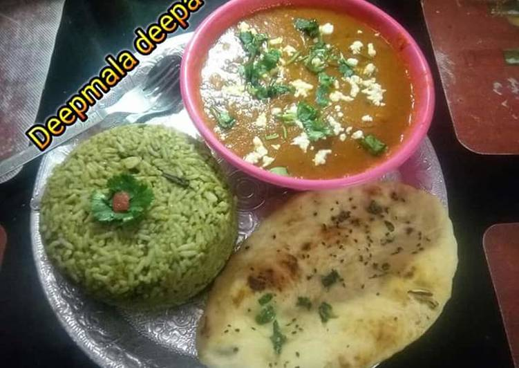 Spinach rice wth potato kofta curry and Naan