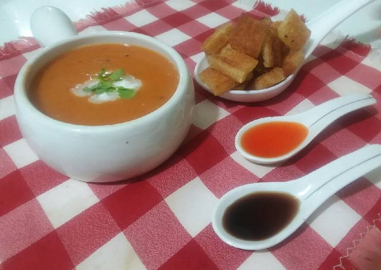 Recipe of Favorite Tomato carrot soup with croutons