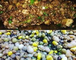 Chutney de mondongo y carne al Wok con ensalada de legumbres