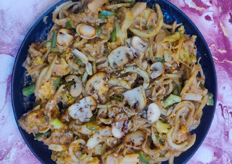 Bottleguard Noodles with Pan Fried Mushrooms