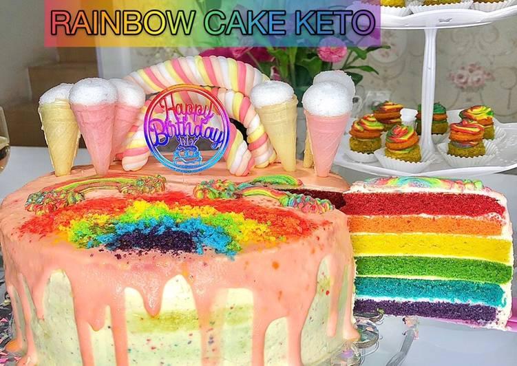 Cara mudah membuat Rainbow cake keto 🌈🎂