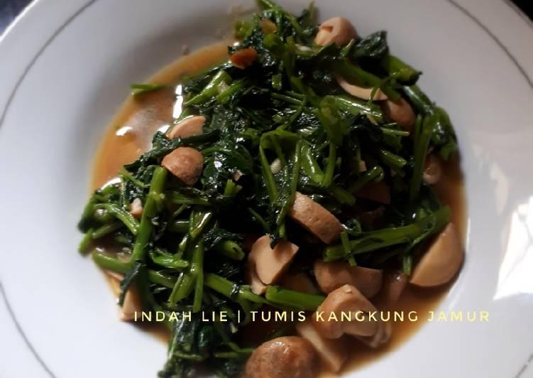 Tumis kangkung Jamur cincang ala Indah
