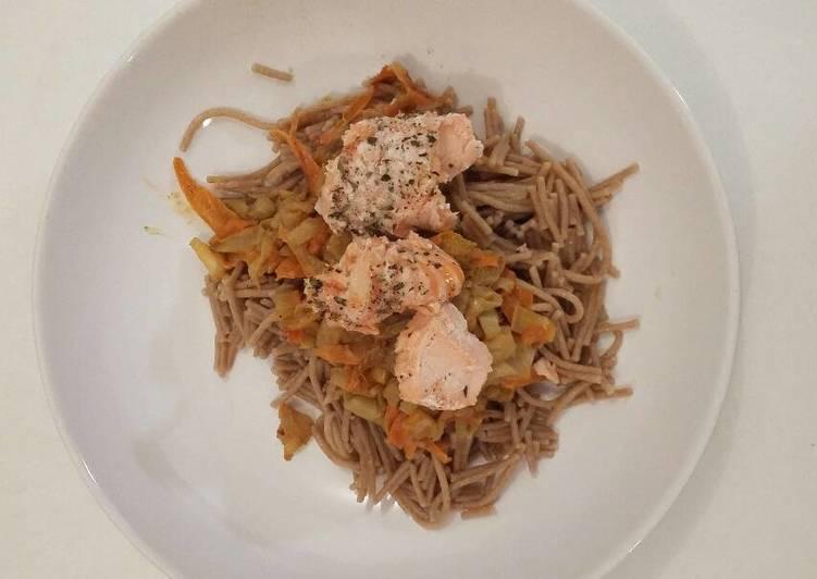 Spaghetti de petit épautre et ses petits légumes