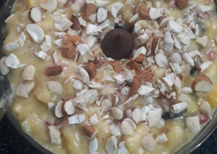 Recipe of Homemade Fruity and nutty custard