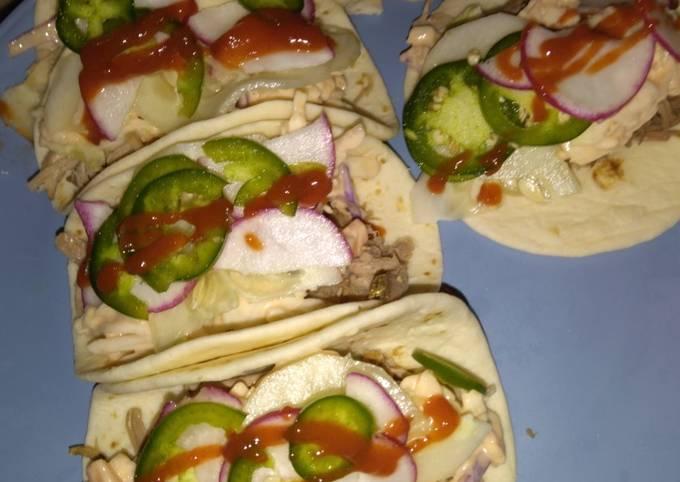 Spicy pork slaw taco