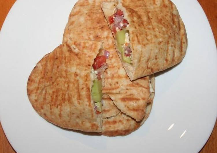Top 100 Dinner Easy Award Winning Greek salad sandwich in Cypriot pita bread