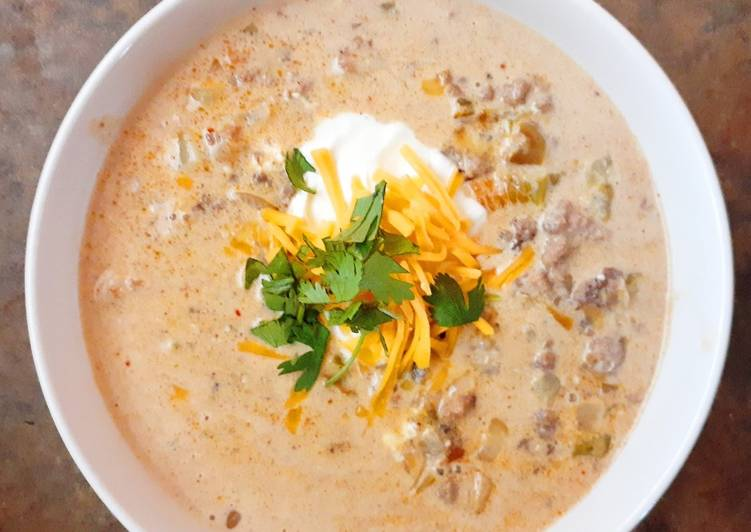 Recipe of Ultimate Cheesy Beef and Hatch Chile Soup
