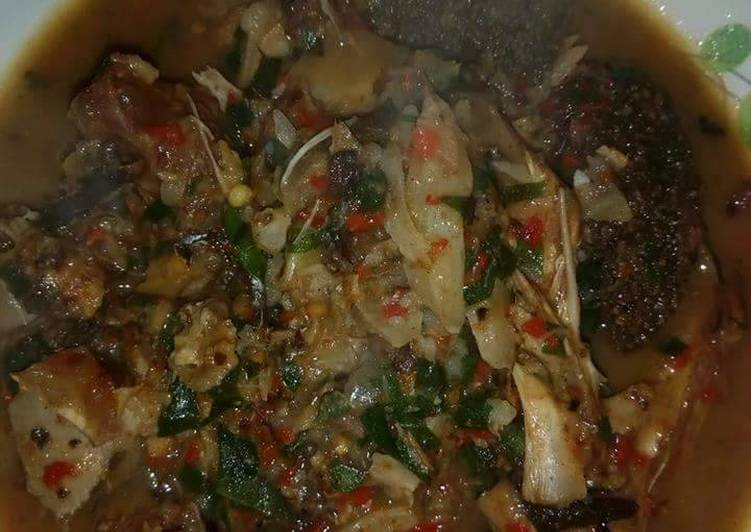 Goat meat and stockfish peppersoup