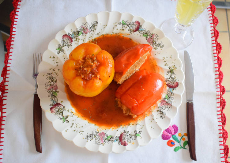 Easiest Way to Make Super Quick Homemade Stuffed Bell peppers in sweet tomato sauce