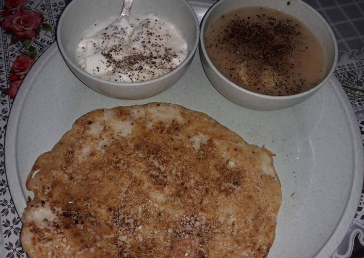 Ekadashi chilla with rasa aloo