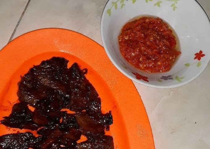 Daging sapi bakar madu teflon dan sambel korek