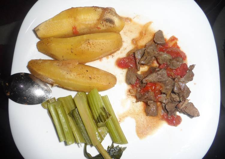 Steps to Prepare Favorite Matoke served with liver and Celery stalks