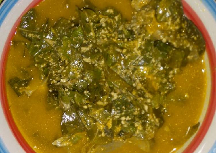 Oha mixed with egusi soup
