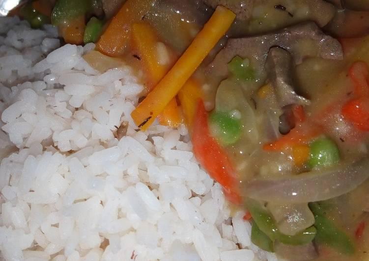 White Rice With Veggie-liver Sauce