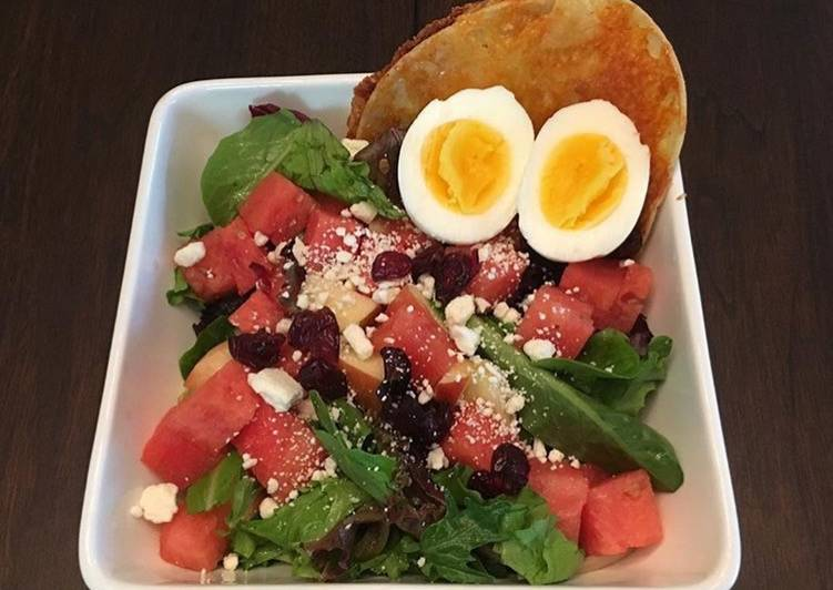 Recipe: Tasty Spinach and Water Melon Salad  with  Tortilla Grilled Cheese