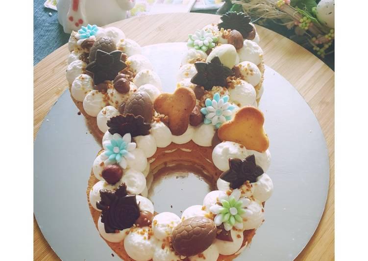 La Recette Pas à Pas Lapin façon Number cake 🐇 (Noisette- Praliné)