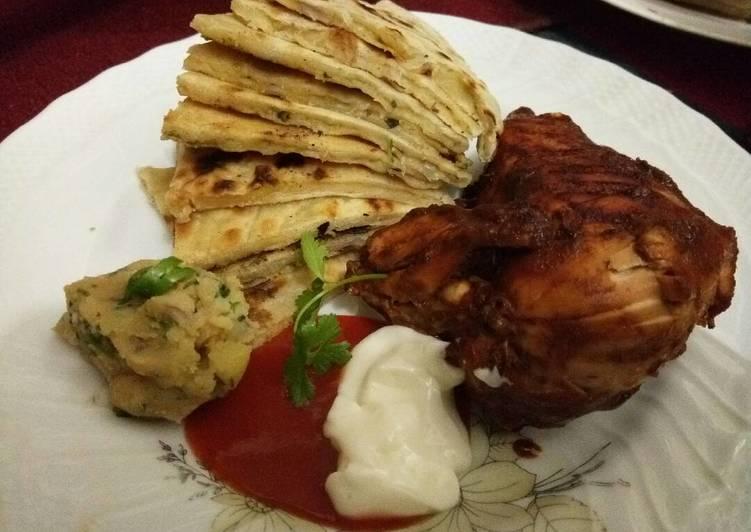 Potato Paratha(আলুর পরোটা) with Spicy Chicken
