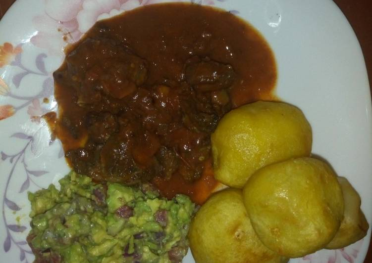 Recipe: Perfect Fried beef and deep fried potatoes with kachumbari