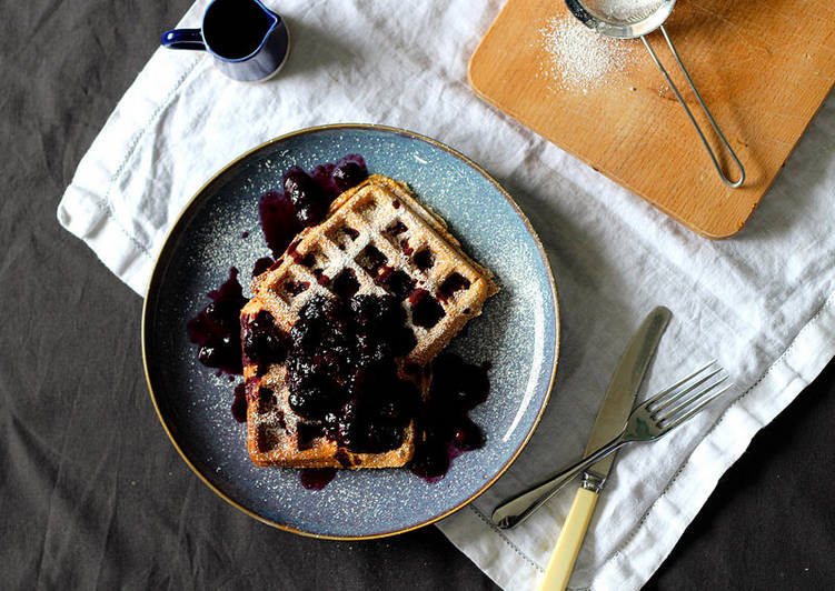 How to Prepare Perfect Vegan waffles with warm blueberry and maple syrup compote