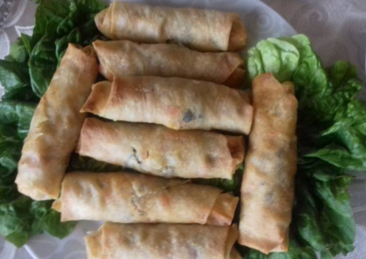 Simple Way to Prepare Speedy Baked chicken and vegetable spring rolls