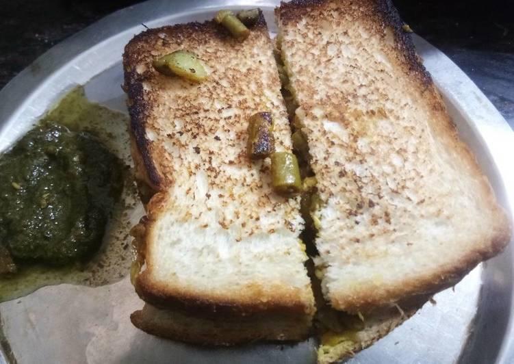 Leftover Sabji sandwich