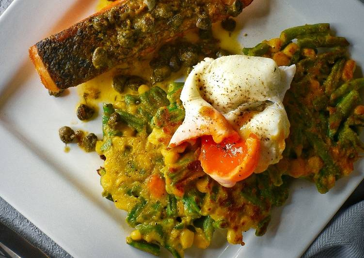 Salmon, Veggie Fritters & Poached Egg With A Dill Butter Sauce