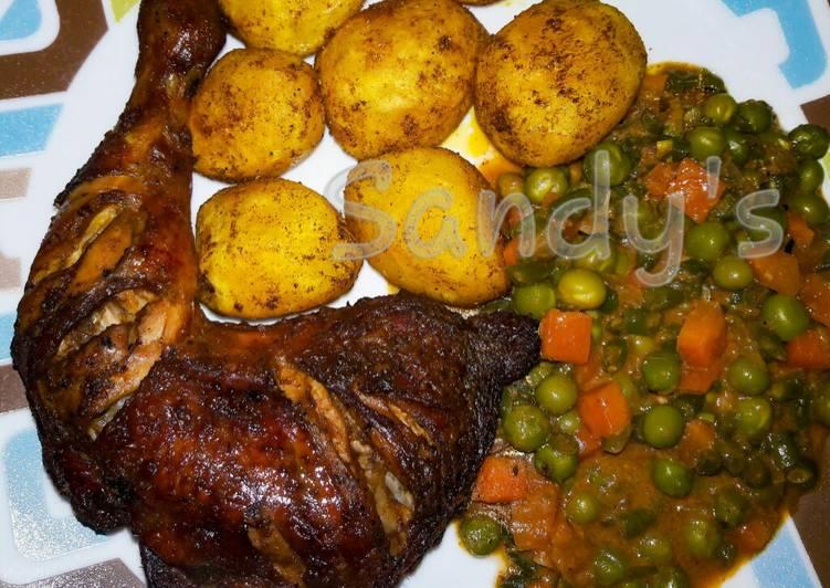 Baked chicken,creamy veggies & Bombay potatoes