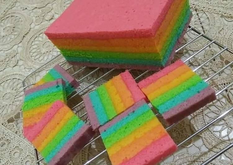Steamed Rainbow Cake aka Rainbow Cake Kukus