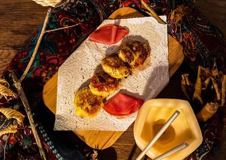 Croquettes de pommes de terre/bacon et oignons