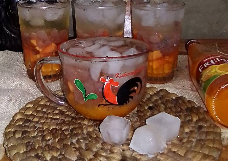 Es Buah Pepaya Kolang Kaling Selasih Syrup Jeruk