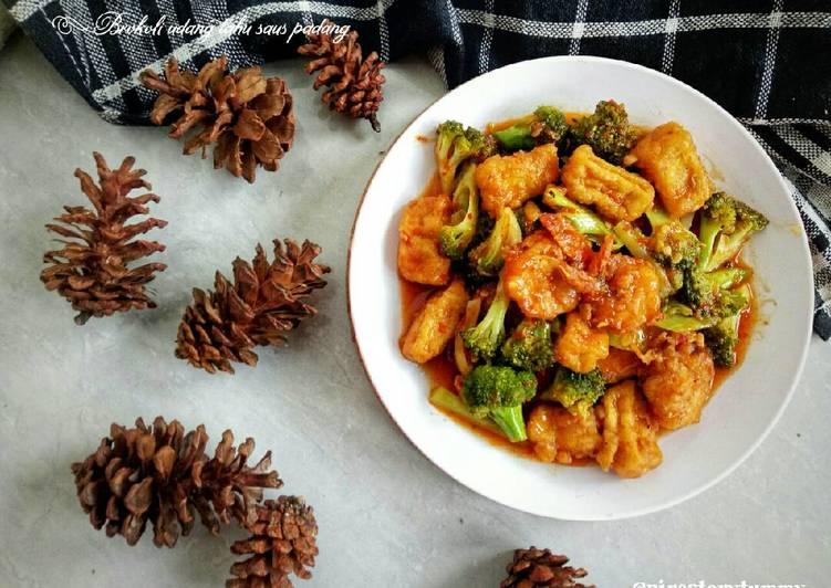 Brokoli udang tahu saus padang