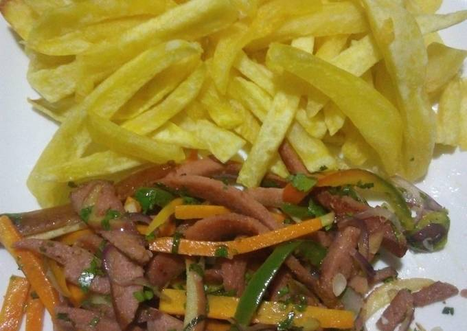 Plain french fries and smokies with mixed veggies