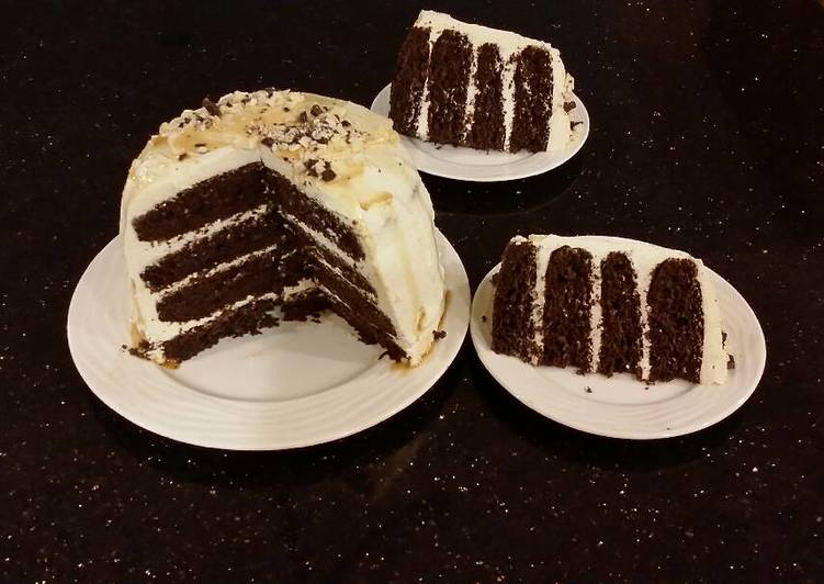 Recipe: Yummy Mocha Layer Cake with Whipped Mascarpone Cream and a Coffee Glaze Drizzle