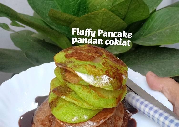 Fluffy pancake pandan coklat