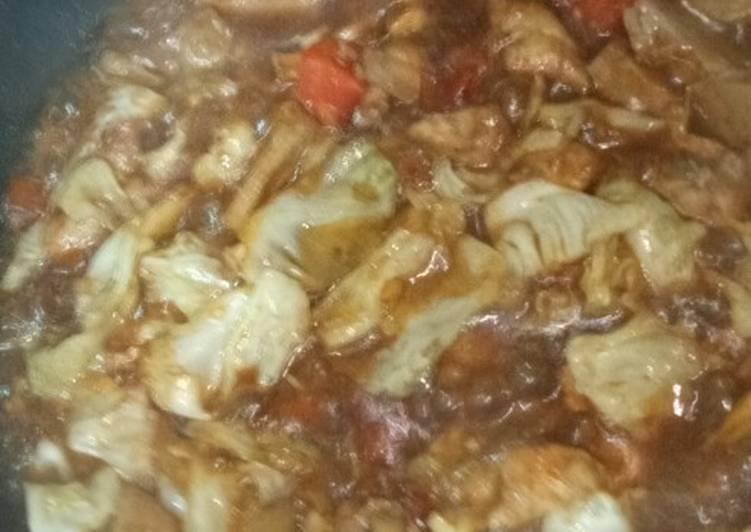 Resep Ayam kecap mix bakso dan sayur yang Enak