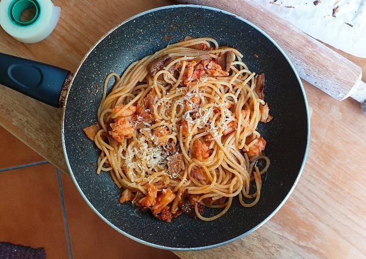 Spaghetti porcini e gamberetti