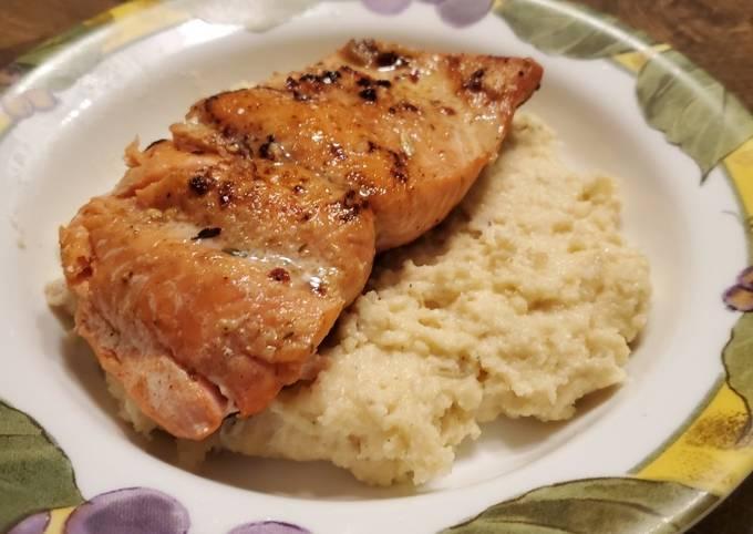 Steps to Prepare Favorite Brad's pan seared salmon with bacon cheddar polenta