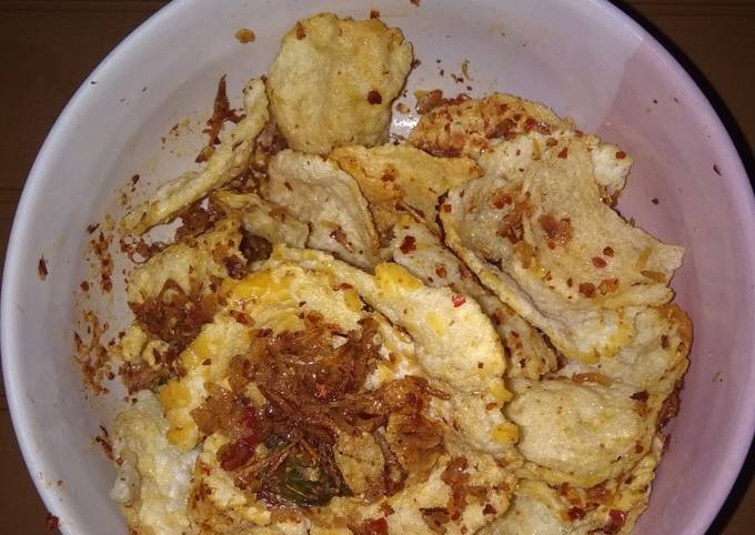 Emping melinjo balado with udang rebon