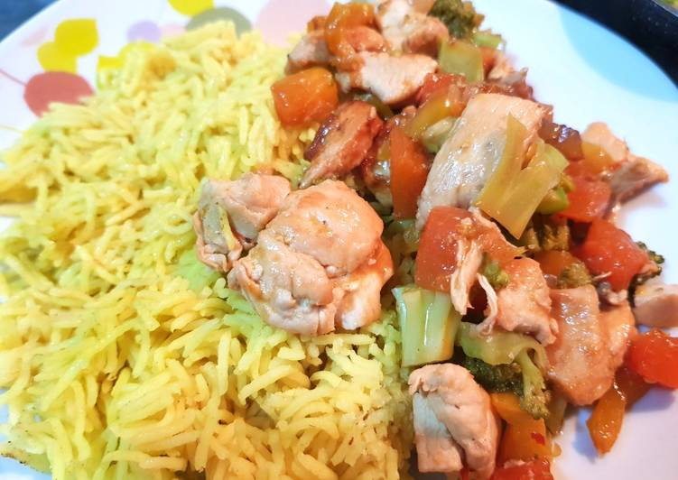 Papaya Chicken with Turmeric Rice