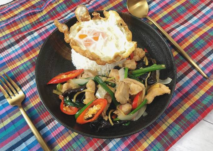 🧑🏽🍳🧑🏼🍳 Stir fried Chicken with ginger Thai Style (Full Recipe)• Gai Pad King