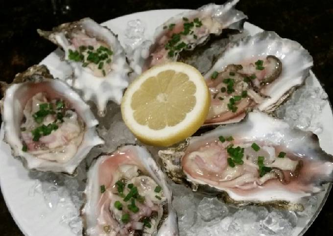 Brad's oysters with champagne lemon mignonette