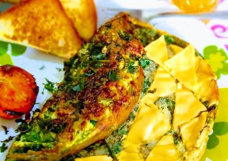 Fluffy Spinach Cheese Omlette A perfect healthy breakfast
