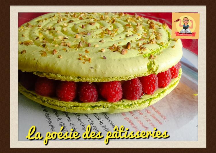 Macaron géant pistache/framboise